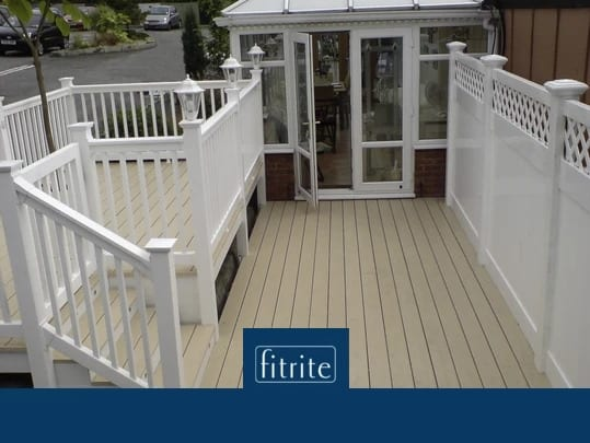 multi level decking with balustrades and post lighting