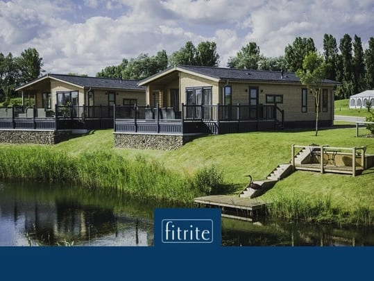 holiday homes by a lake with decking