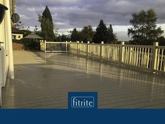 large open white decked area pvc balustrades