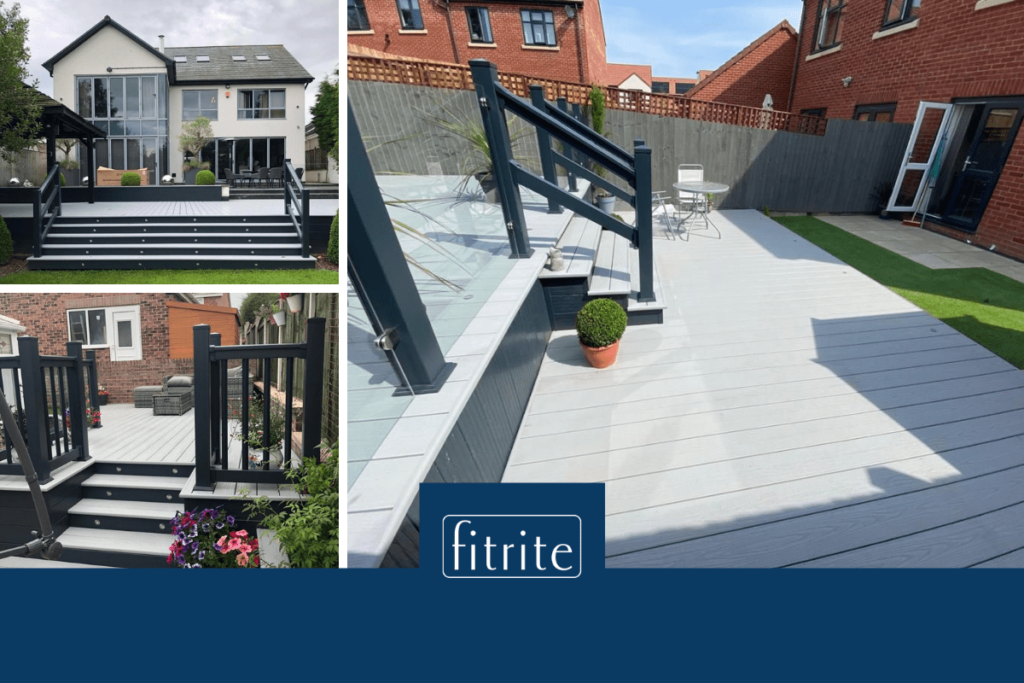 before and after images of decking installations in yorkshire