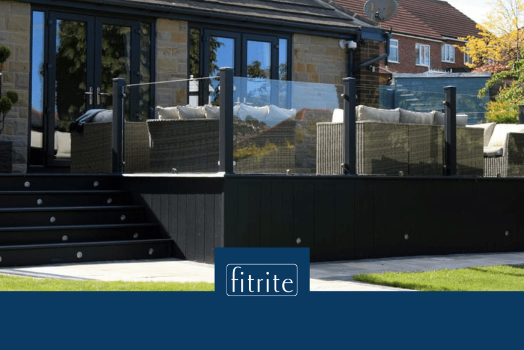 glass balustrades around decking with outdoor seating