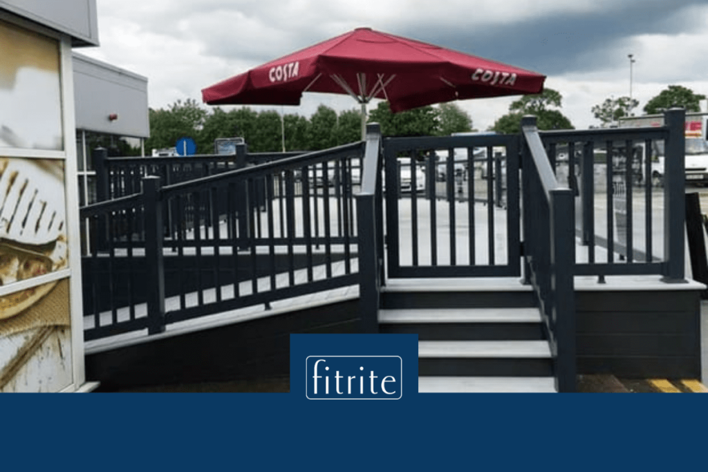 eco friendly commercial decking for cafe area